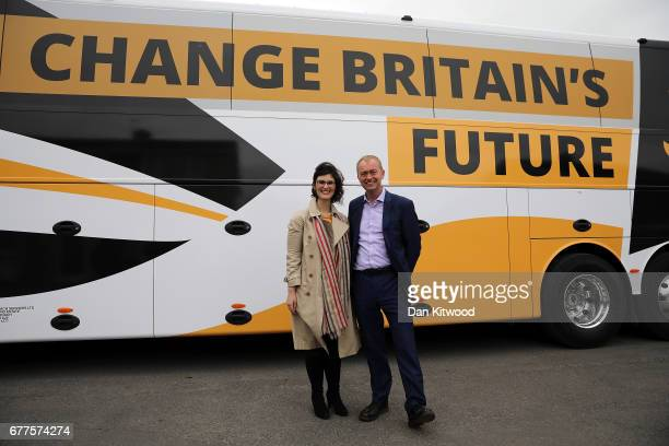 Liberal Democrat leader Tim Farron and Liberal Democrat candidate for the constituency of Oxford West and Abingdon Layla Moran stand next to the...