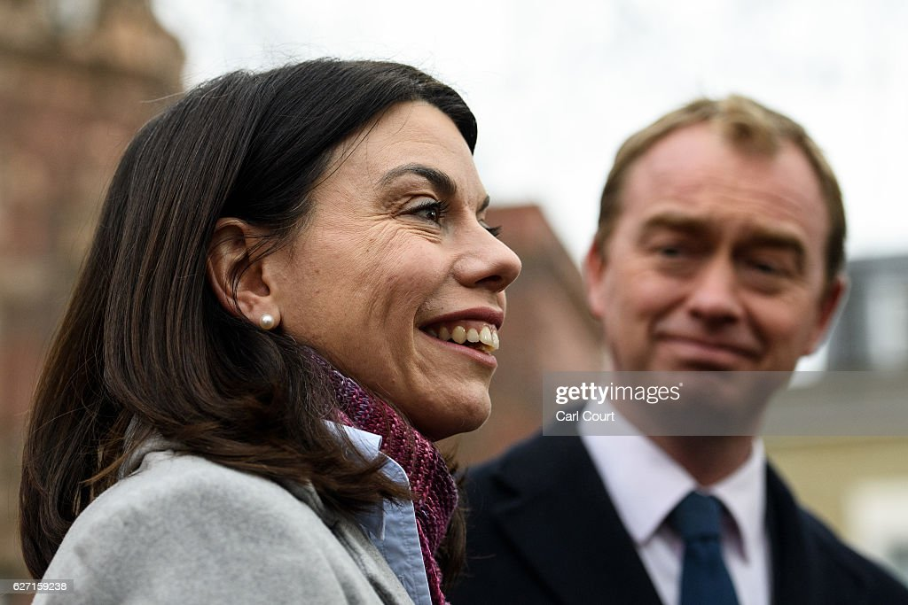 Liberal Democrat leader Tim Farron (R) and Sarah Olney (C) speak to the media following Olney's victory in the Richmond Park by-election on December 2, 2016 in London, England. The Liberal Democrats caused a major upset in the Richmond Park by-election after ousting ex-Tory MP Zac Goldsmith who resigned his seat in protest at Heathrow airport expansion.