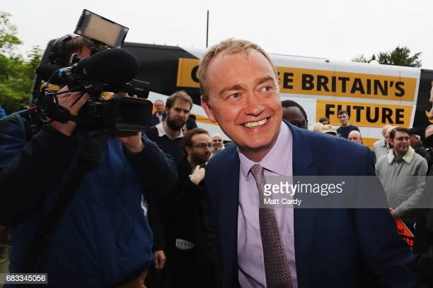 Liberal Democrat leader Tim Farron arrives at the Happy Heart Cafe on May 15 2017 in Solihull England Farron and Liberal Democrat candidate for...
