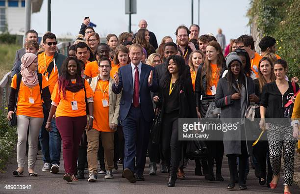 Liberal Democrat leader Tim Farron arrives for his leader's speech on the final day of the Liberal Democrats annual conference on September 23 2015...