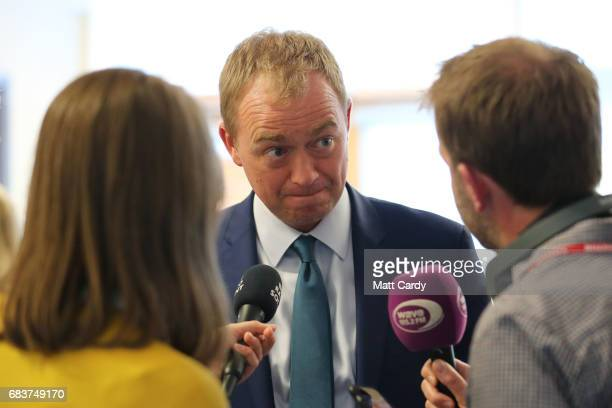 Liberal Democrat leader Tim Farron conducts media interviews as he visits the Mary Rose School for children with special needs on May 16, 2017 in...
