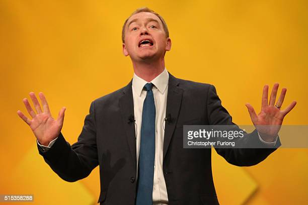 Liberal Democrat leader Tim Farron delivers his keynote speech to delgates during the Liberal Democrats spring conference at York Barbican on March...