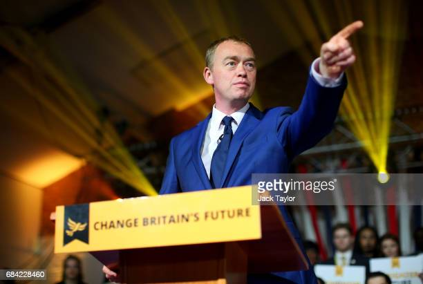 Liberal Democrat Leader Tim Farron launches the party's Election Manifesto at The Oval Space on May 17, 2017 in London, England. Britain goes to the...