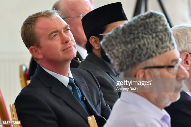 Liberal Democrat Leader Tim Farron lookson during a Remembrance event held by the Ahmadiyya community at the Darul Aman Mosque in Manchester to pay...