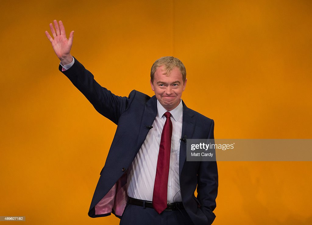 Liberal Democrat leader Tim Farron makes his leader's speech on the final day of the Liberal Democrats annual conference on September 23, 2015 in Bournemouth, England. The Liberal Democrats are currently holding their annual conference using the hashtag #LibDemfightback in Bournemouth. The conference is the first since the party lost all but eight of its MPs in May's UK general election, however after gaining 20,000 new members since May the party is expecting a record attendance at the event being held at the Bournemouth International Centre.