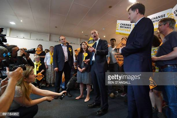 Liberal Democrat leader Tim Farron speaks during a campaign rally with activists and supporters in Kingston upon Thames southwest London on June 1...