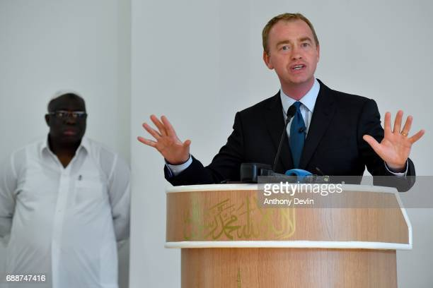Liberal Democrat Leader Tim Farron speaks during a Remembrance event held by the Ahmadiyya community at the Darul Aman Mosque in Manchester to pay...
