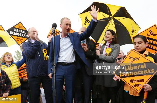 Liberal Democrat leader Tim Farron Waves as former cabinet ministers Sir Ed Davey Sir Vince Cable and MP Sarah Olney applaud during a general...