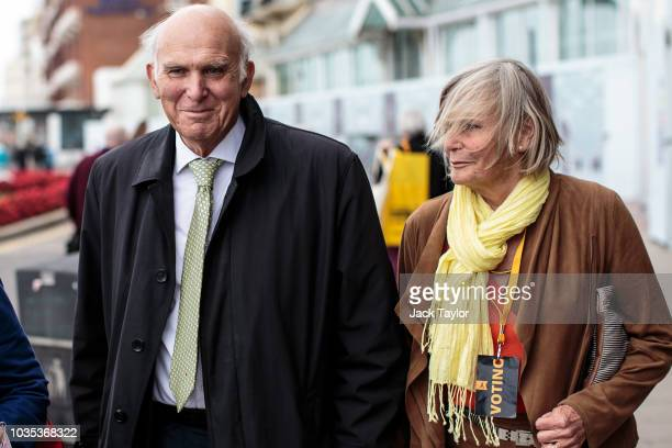 Liberal Democrat Leader Vince Cable and his wife Rachel Smith arrive ahead of his speech at the Liberal Democrat Party Conference at the Brighton...