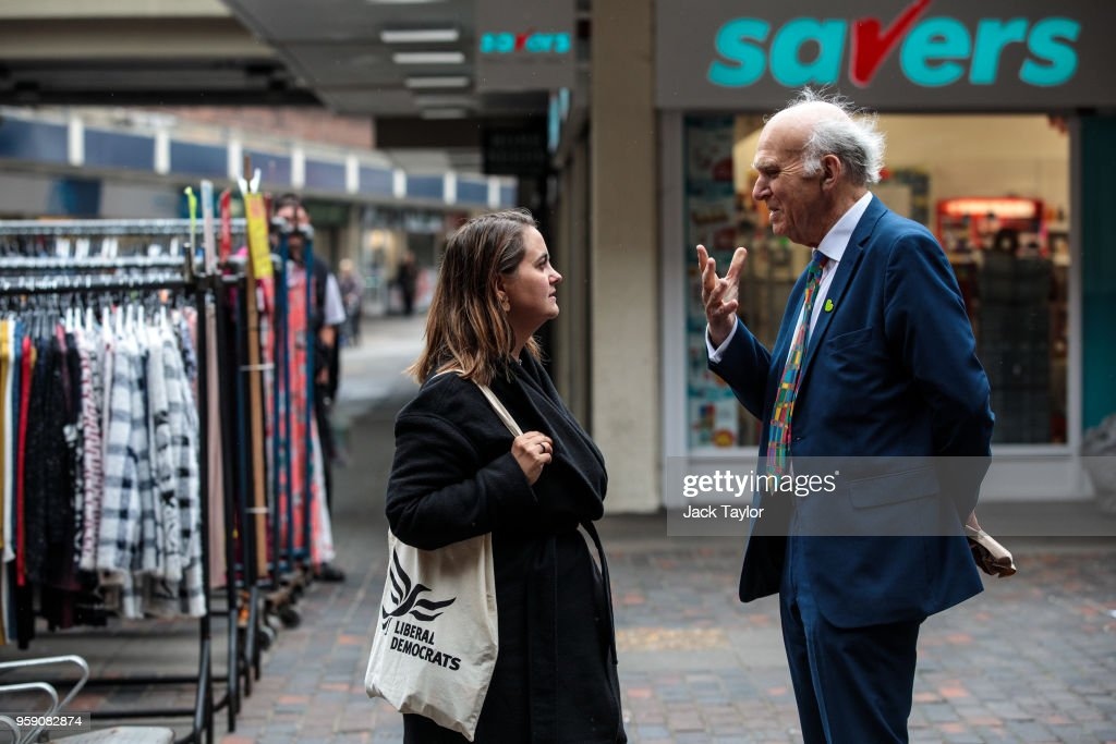 Liberal Democrat Leader Vince Cable and Liberal Democrat Parliamentary candidate for Lewisham East, Lucy Salek speak in Catford Market as the party launch their Lewisham East by-election campaign on May 16, 2018 in London, England. The June 14th by-election for Lewisham East was triggered by the resignation of Heidi Alexander who is to work for London Mayor Sadiq Khan.