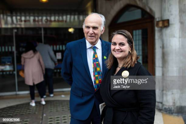 Liberal Democrat Leader Vince Cable and Liberal Democrat Parliamentary candidate for Lewisham East Lucy Salek pose for a photograph in Catford as the...
