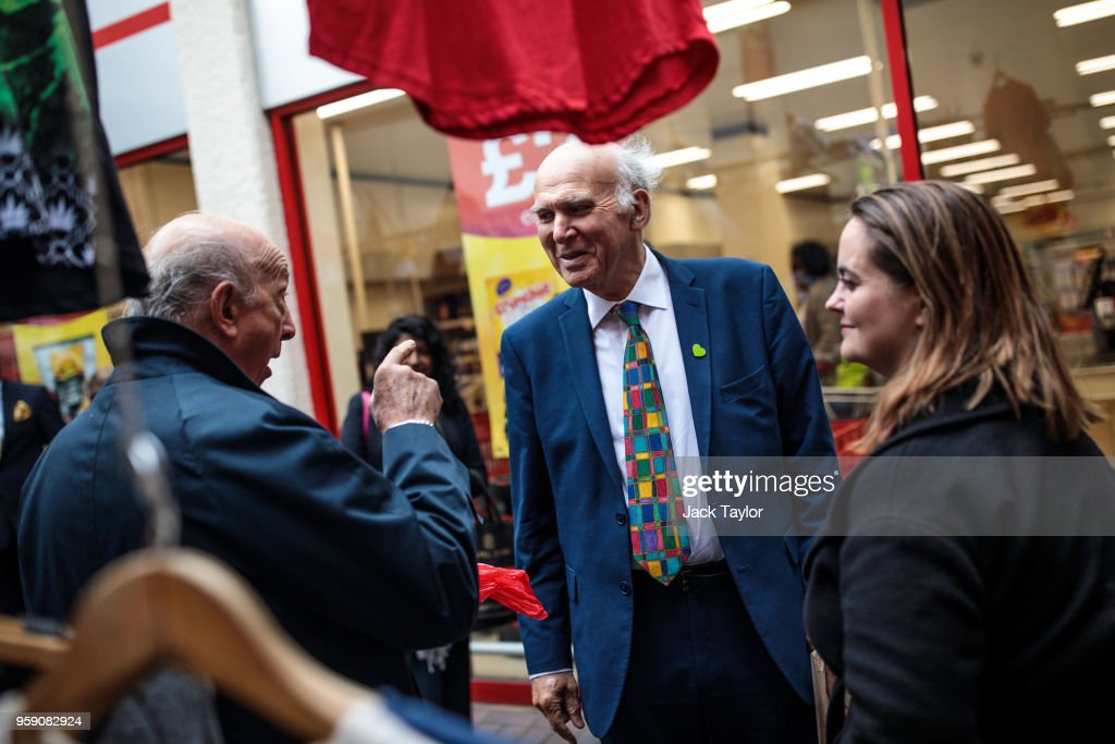 Liberal Democrat Leader Vince Cable (C) and Liberal Democrat Parliamentary candidate for Lewisham East, Lucy Salek (R) speak to a Brexit-supporter in Catford Market as the party launch their Lewisham East by-election campaign on May 16, 2018 in London, England. The June 14th by-election for Lewisham East was triggered by the resignation of Heidi Alexander who is to work for London Mayor Sadiq Khan.