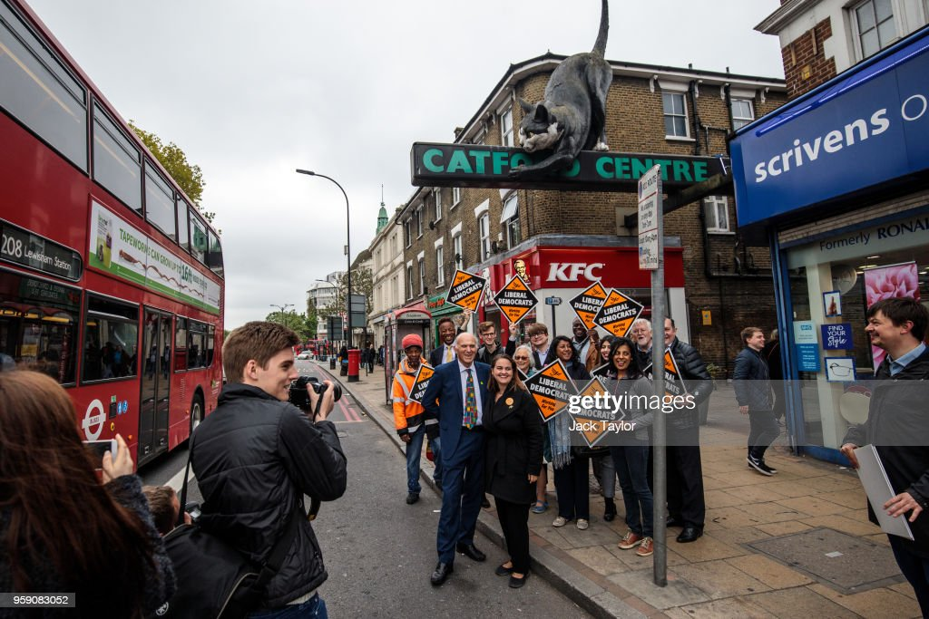 Liberal Democrat Leader Vince Cable and Liberal Democrat Parliamentary candidate for Lewisham East, Lucy Salek pose for a photograph with campaigners in front of the Catford Centre as the party launch their Lewisham East by-election campaign on May 16, 2018 in London, England. The June 14th by-election for Lewisham East was triggered by the resignation of Heidi Alexander who is to work for London Mayor Sadiq Khan.