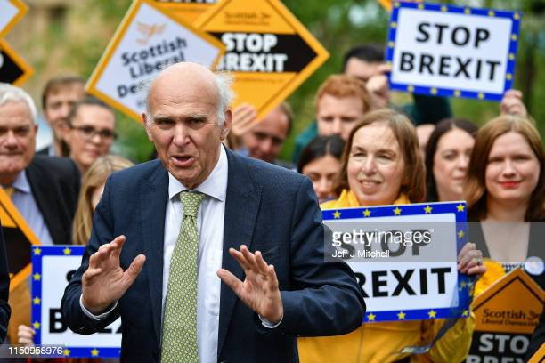 Liberal Democrat Leader Vince Cable and Willie Rennie attend a rally with activists and campaigners on May 22 2019 in EdinburghScotland The Lib Dem...