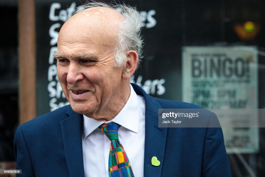 Liberal Democrat Leader Vince Cable campaigns in Catford as the party launch their Lewisham East by-election campaign on May 16, 2018 in London, England. The June 14th by-election for Lewisham East was triggered by the resignation of Heidi Alexander who is to work for London Mayor Sadiq Khan.