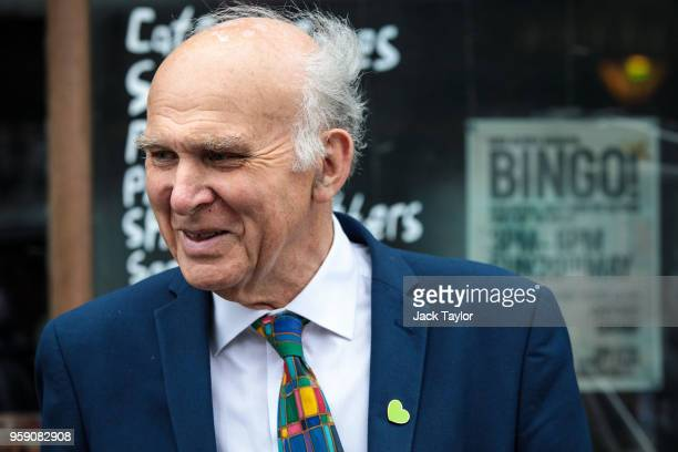 Liberal Democrat Leader Vince Cable campaigns in Catford as the party launch their Lewisham East byelection campaign on May 16 2018 in London England...