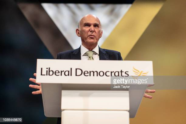 Liberal Democrat Leader Vince Cable delivers a speech on the final day of the Liberal Democrat Party Conference at the Brighton Centre on September...