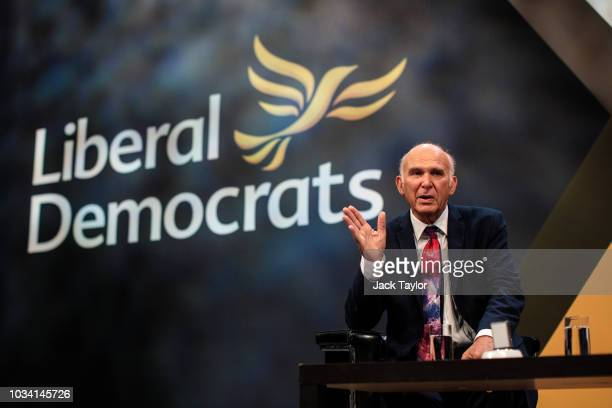 Liberal Democrat Leader Vince Cable takes part in a question and answer session at the Liberal Democrat Party Conference at the Brighton Centre on...
