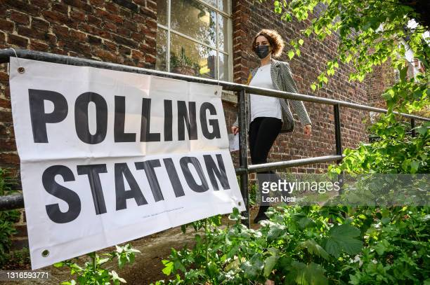 Liberal Democrat Mayoral candidate Luisa Porritt leaves the polling station after casting her votes on May 06, 2021 in London, England. The London...