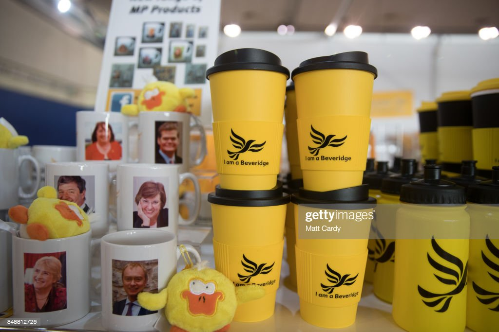 Liberal Democrat merchandise is displayed at the Bournemouth International Centre on September 18, 2017 in Bournemouth, England. The pro-remain party, which is campaigning for a second referendum on the outcome of EU talks, is holding its annual conference at the English seaside town.