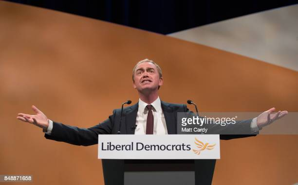 Liberal Democrat MP and former leader of the party Tim Farron speaks to delegates at the Bournemouth International Centre on September 18, 2017 in...