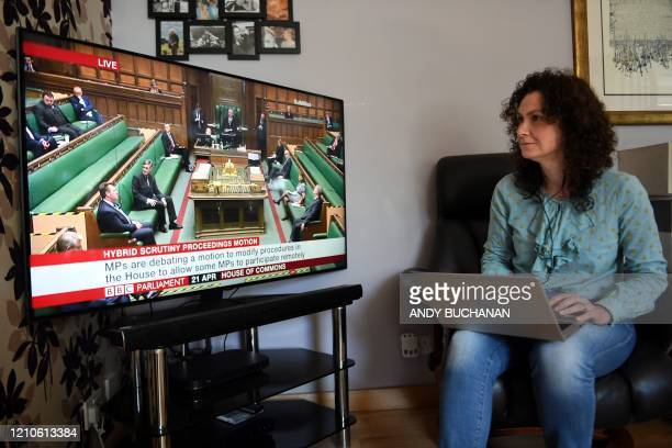 TOPSHOT Liberal Democrat MP for North East Fife Wendy Chamberlain participates in a remote session of the House of Commons in Westminster London from...