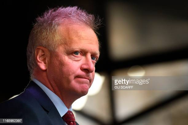 Liberal Democrat MP Phillip Lee who quit the Conservative Party speaks at a crossparty rally organised by the People's Vote organisation campaigning...