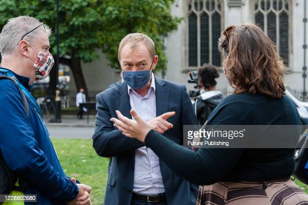 Liberal Democrat MP Tim Farron takes part in Panto protest in Parliament Square to highlight the plight of the live events industry, on 30 September...