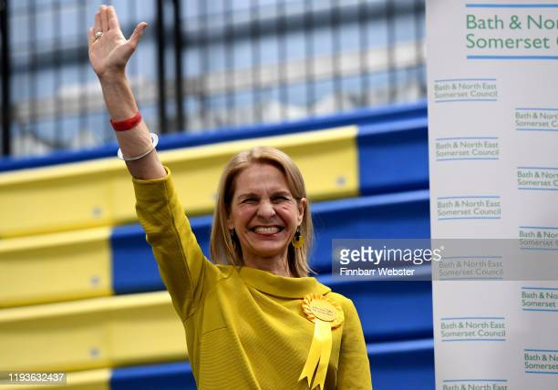 Liberal Democrat parliamentary candidate Wera Hobhouse celebrates after winning the Bath constituency at the Sports Training Village, University of...