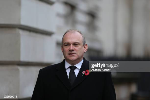 Liberal Democrat Party leader Ed Davey arrives at Downing Street after attending the Remembrance Sunday ceremony in Whitehall, London on November 8,...