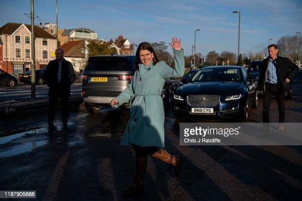 Liberal Democrat party leader Jo Swinson arrives to board her campaigning bus on December 11 2019 in Esher England Leaders of all the British...