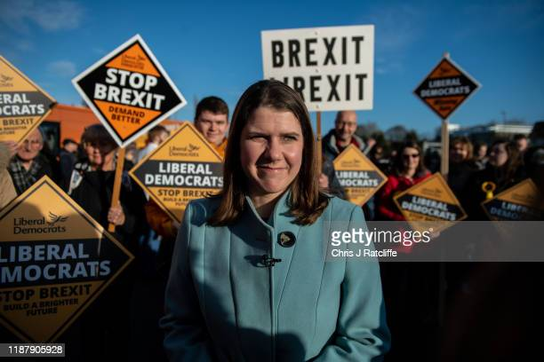 Liberal Democrat party leader Jo Swinson meets activists during a rally on December 11 2019 in Esher England Leaders of all the British political...