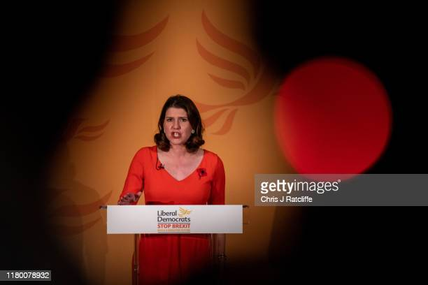 Liberal Democrat Party leader Jo Swinson speaks at the launch of the party's general election campaign on November 5 2019 in London England Swinson...