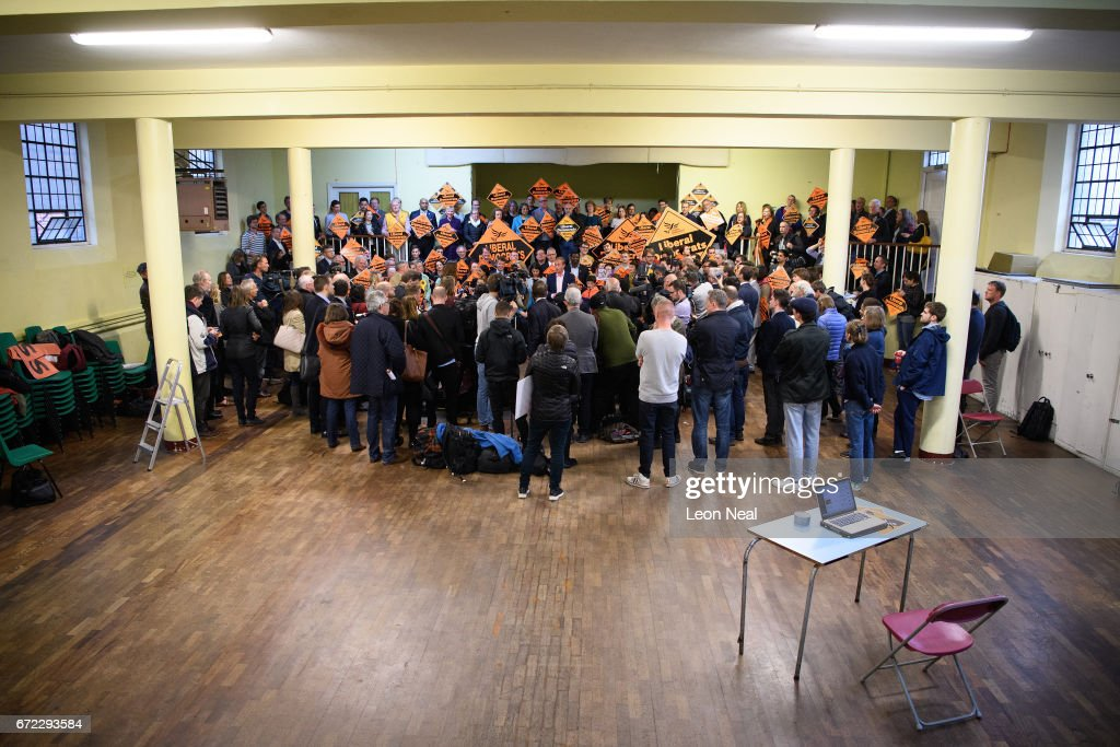 Liberal Democrat Party Leader Tim Farron addresses supporters and media on April 24, 2017 in London, England. Mr Farron has ruled out any coalition with Labour after the approaching General Election, despite polls suggesting a strong lead for the Conservatives.