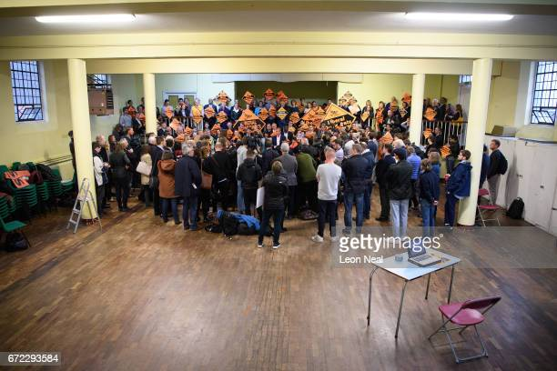 Liberal Democrat Party Leader Tim Farron addresses supporters and media on April 24 2017 in London England Mr Farron has ruled out any coalition with...