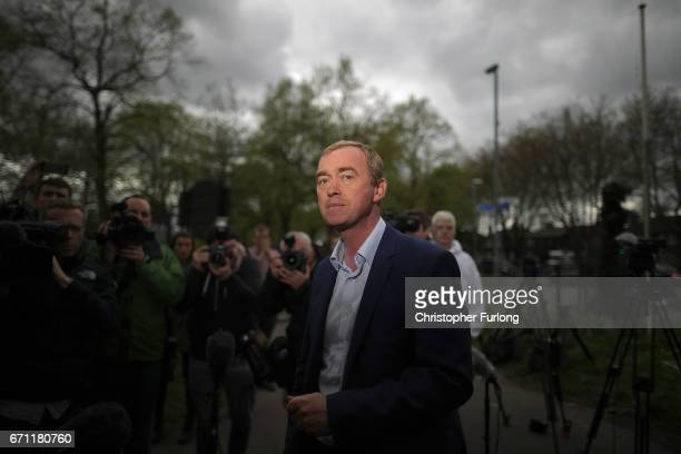 Liberal Democrat party leader, Tim Farron, arrives to address supporters as he launches the party's general election campaign on April 21, 2017 in...