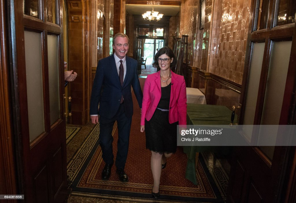 Liberal Democrat Party leader Tim Farron arrives with newly elected Liberal Democrat MP for Oxford West and Abington, Layla Moran, to speak to suporters and the press at 1 Whitehall Place on June 9, 2017 in London, England. After a snap election was called by Prime Minister Theresa May the United Kingdom went to the polls yesterday. The closely fought election has failed to return a clear overall majority winner and a hung parliament has been declared.