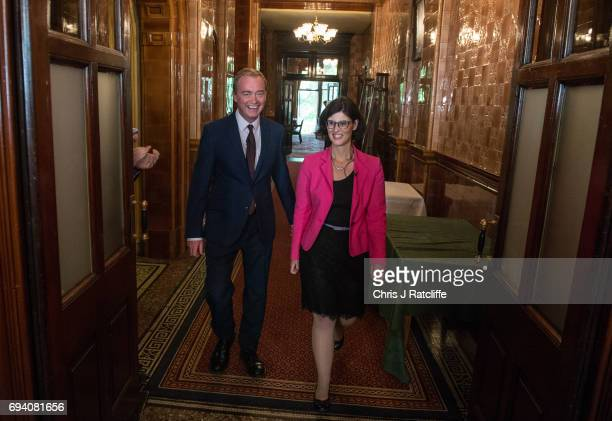 Liberal Democrat Party leader Tim Farron arrives with newly elected Liberal Democrat MP for Oxford West and Abington Layla Moran to speak to...