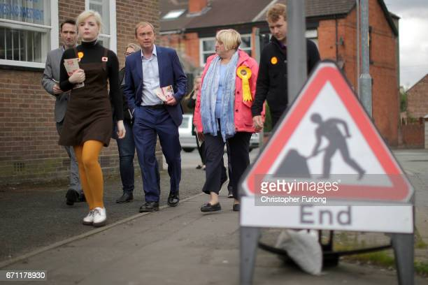 Liberal Democrat party leader, Tim Farron cavasses on the streets after launching the party's general election campaign on April 21, 2017 in...