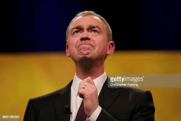 Liberal Democrat party leader Tim Farron looks emotional as he speaks about the love of his country during his keynote speech to party members on the...