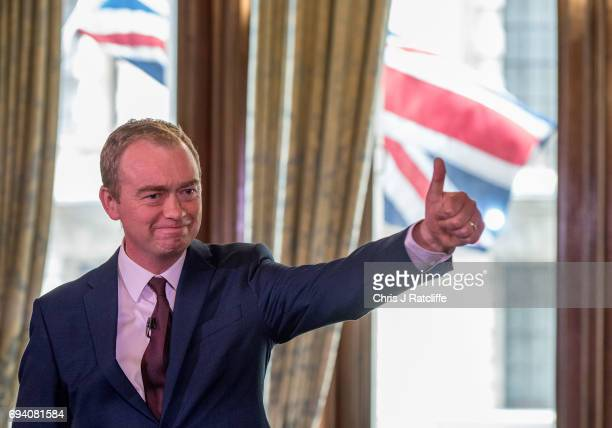 Liberal Democrat Party leader Tim Farron speaks to suporters and the press at 1 Whitehall Place on June 9 2017 in London England After a snap...