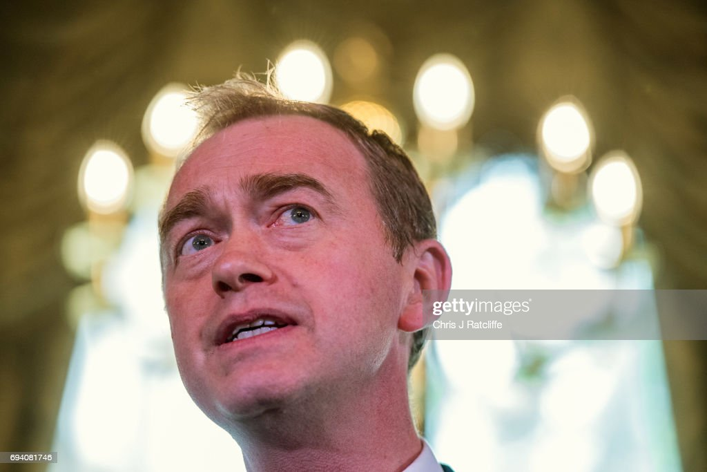Liberal Democrat Party leader Tim Farron speaks to suporters and the press at 1 Whitehall Place on June 9, 2017 in London, England. After a snap election was called by Prime Minister Theresa May the United Kingdom went to the polls yesterday. The closely fought election has failed to return a clear overall majority winner and a hung parliament has been declared.