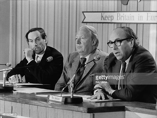 L R Liberal Democrat Party politician Jeremy Thorpe Conservative Party politician Edward Heath and Labour Party politician Roy Jenkins during a press...