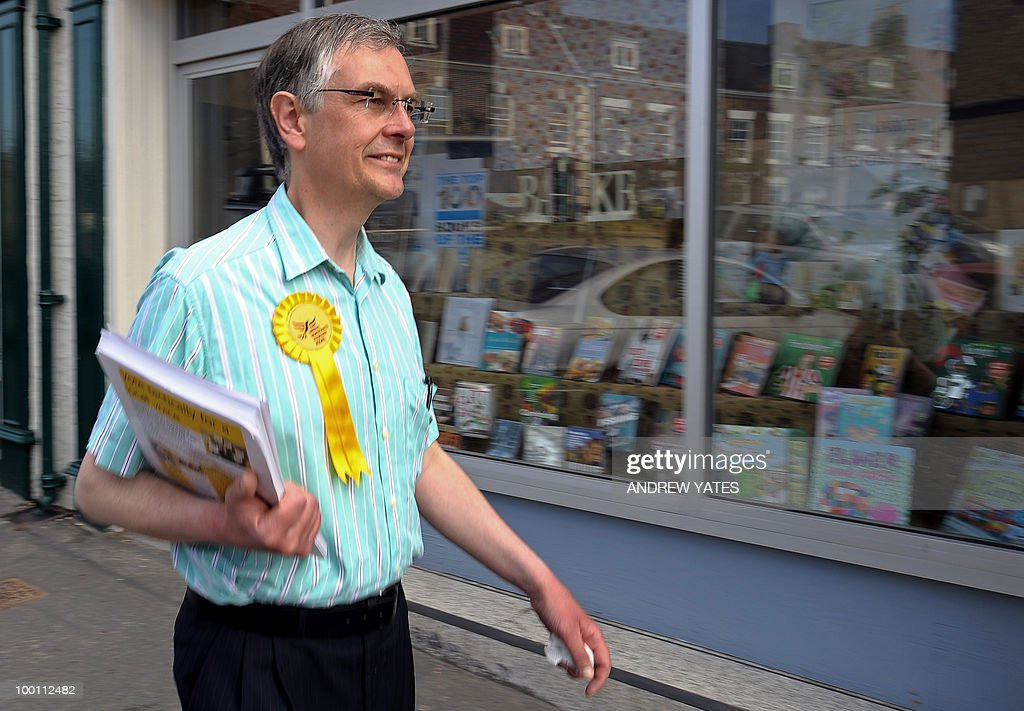 Liberal Democrat party's prospective MP for Thirsk and Malton, Howard Keal, canvasses for voters in the market square in Malton, north Yorkshire, England on May 21, 2010. Keal will stand against Conservative candidate Anne McIntosh for the Thirsk and Malton constituency seat, voting for which will take place on May 27, 2010.