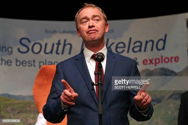 Liberal Democratic leader Tim Farron gestures as he speaks after holding his seat at the Westmorland and Lonsdale constituency counting centre in...