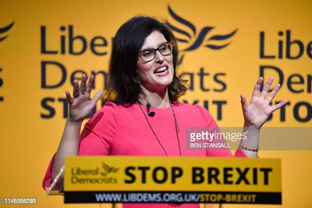 Liberal Democratic MP Layla Moran speaks during a European Parliament election campaign rally in London on May 21 2019