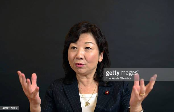 Liberal Democratic Party lawmaker Seiko Noda speaks during the Asahi Shimbun interview on September 9 2015 in Tokyo Japan