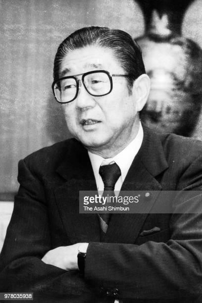 Liberal Democratic Party Secretary General Shintaro Abe speaks during the Asahi Shimbun interview on December 20 1988 in Tokyo Japan
