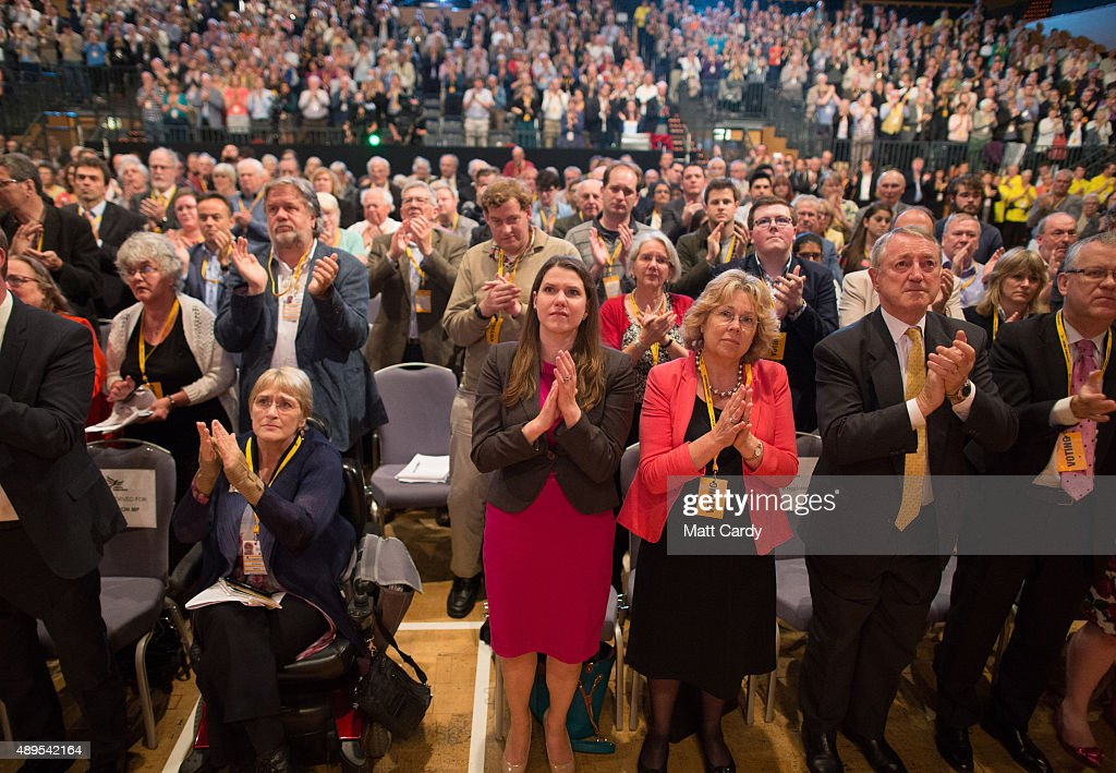 Liberal Democrats attend a special tribute to ex-leader Charles Kennedy on the fourth day of the Liberal Democrats annual conference on September 22, 2015 in Bournemouth, England. The Liberal Democrats are currently holding their annual conference using the hashtag #LibDemfightback in Bournemouth. The conference is the first since the party lost all but eight of its MPs in May's UK general election, however after gaining 20,000 new members since May the party is expecting a record attendance at the event being held at the Bournemouth International Centre.