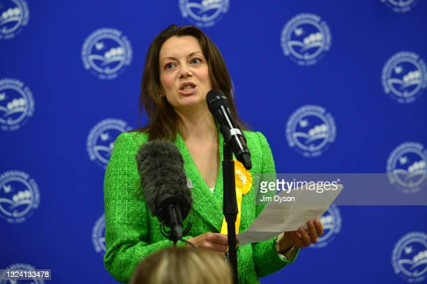 Liberal Democrats candidate Sarah Green makes a speech after winning the Chesham and Amersham By-Election at Chesham Leisure Centre on June 17, 2021...